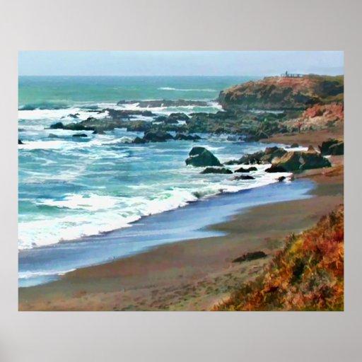 Cambria California Shoreline in the Fall Poster