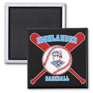 Cambria Heights Highlanders BaseBall Design 2 Inch Square Magnet