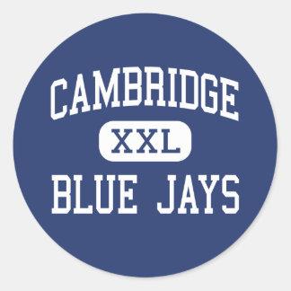 Cambridge - arrendajos azules - alta - Cambridge Pegatina Redonda