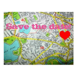 CAMBRIDGE, MA Map 'Save the date!' Postcard