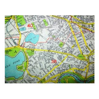 CAMBRIDGE, MA Vintage Map Postcard