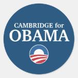 CAMBRIDGE para el personalizado de Obama su ciudad Pegatina Redonda
