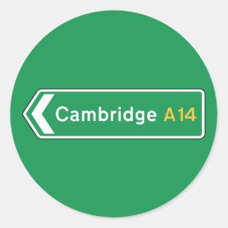 Cambridge, señal de tráfico BRITÁNICA Pegatina Redonda