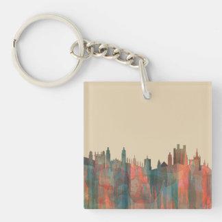 CAMBRIDGE, UK SKYLINE - Square keychain