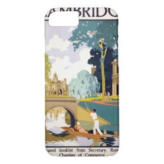 Cambridge Vintage Travel Poster Restored iPhone 8/7 Case