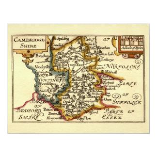 Cambridgeshire County Map, England 4.25x5.5 Paper Invitation Card