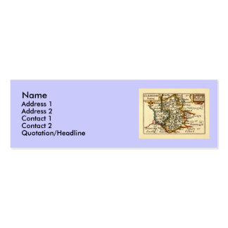 Cambridgeshire County Map, England Double-Sided Mini Business Cards (Pack Of 20)