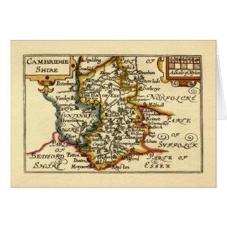 Cambridgeshire County Map, England Greeting Card
