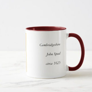 Cambridgeshire County Map, England Mug