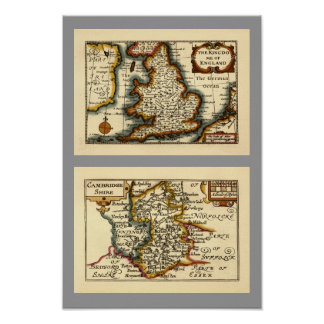 Cambridgeshire County Map, England Posters