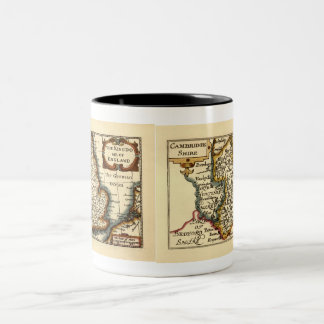 Cambridgeshire County Map, England Two-Tone Coffee Mug