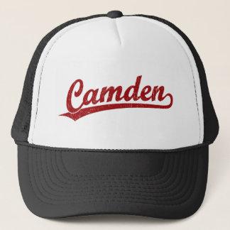 Camden script logo in red trucker hat