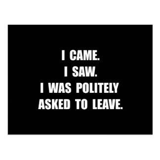Came Saw Leave Postcard