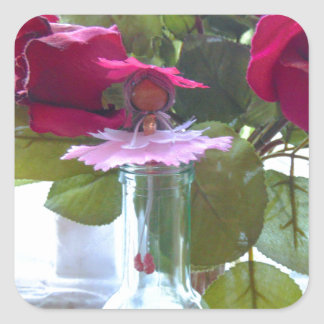 came up to smell the roses.jpg square sticker