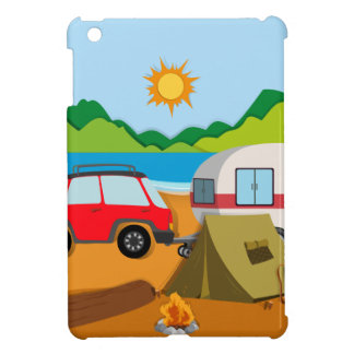 Cameground with tent and caravan iPad mini covers