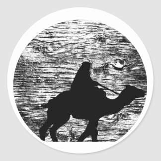 Camel and Bedouin with Moon in Background Classic Round Sticker