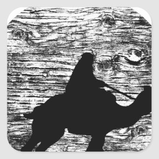 Camel and Bedouin with Moon in Background Square Sticker