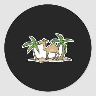 camel and palm trees classic round sticker