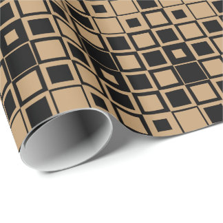 Camel Brown/Black Square Inside Square Wrapping Paper