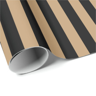 Camel Brown/Black Stripe Wrapping Paper