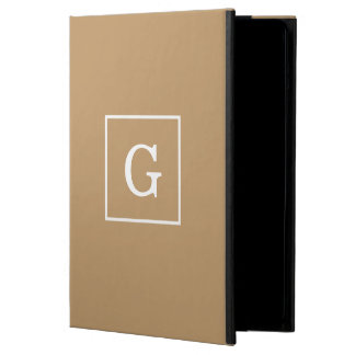 Camel Brown White Framed Initial Monogram iPad Air Cover