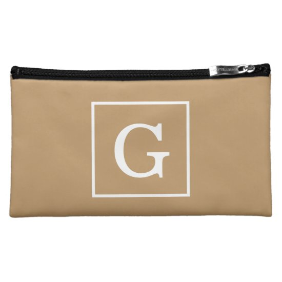 Camel Brown White Framed Initial Monogram Makeup Bag