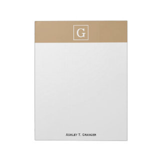 Camel Brown White Framed Initial Monogram Note Pads