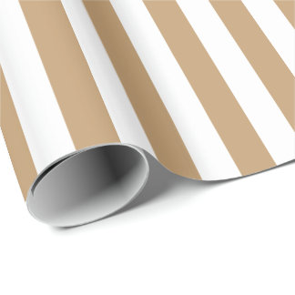 Camel Brown/White Stripe Wrapping Paper