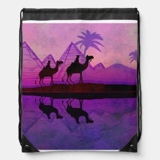 Camel caravan Drawstring Backpack
