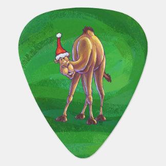 Camel Christmas On Green Guitar Pick