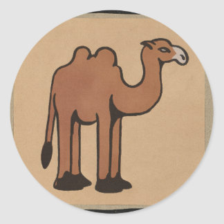 Camel - Colorful Antiquarian Book Illustration Classic Round Sticker