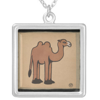 Camel - Colorful Antiquarian Book Illustration Square Pendant Necklace