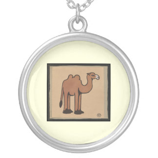 Camel - Colorful Antiquarian Book Illustration Round Pendant Necklace