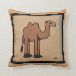 Camel - Colorful Antiquarian Book Illustration Throw Pillow
