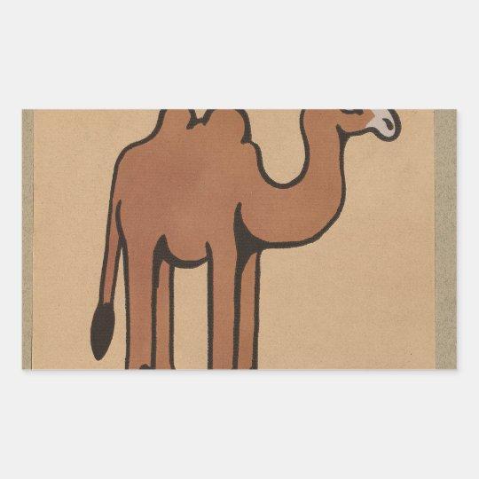 Camel - Colorful Antiquarian Book Illustration Rectangular Sticker