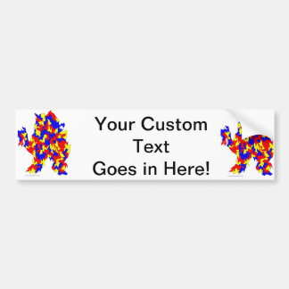 Camel Creature Red Yellow Blue Abstract Design Bumper Sticker