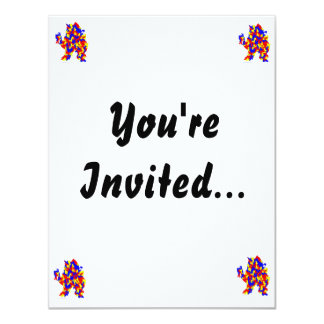 Camel Creature Red Yellow Blue Abstract Design Custom Invite