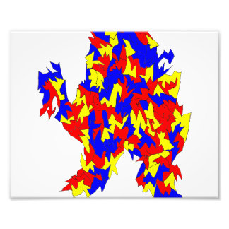 Camel Creature Red Yellow Blue Abstract Design Photo Print