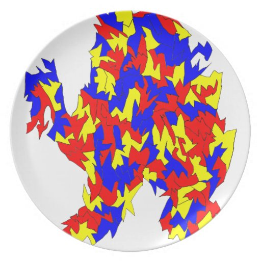 Camel Creature Red Yellow Blue Abstract Design Dinner Plates