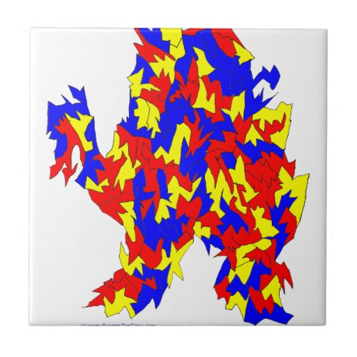 Camel Creature Red Yellow Blue Abstract Design Tiles
