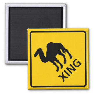 Camel Crossing Highway Sign 2 Inch Square Magnet