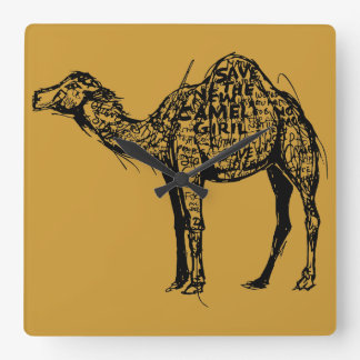 Camel Encrypted Square Wall Clock