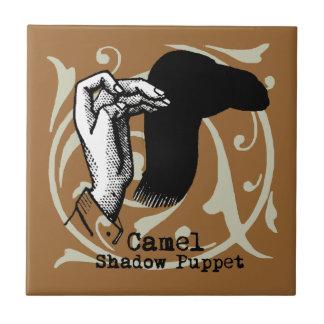 Camel Hand Puppet Shadow Games Vintage Ceramic Tile