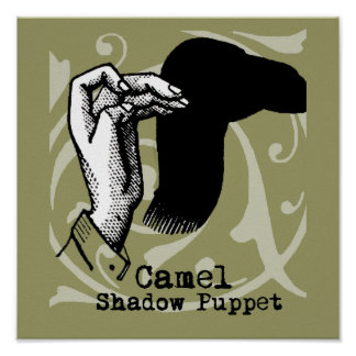 Camel Hand Puppet Shadow Games Vintage Poster