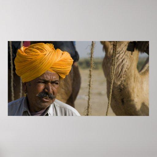 Camel Herder in Rajasthan Poster