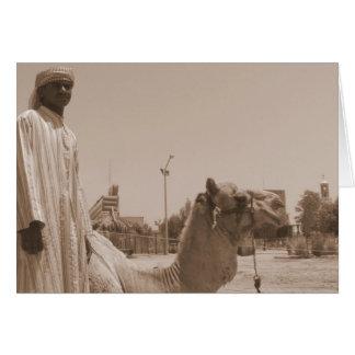 Camel herder on Failaka Island in sepia Card