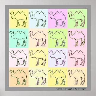 Camel Hieroglyphics Pop Art Poster