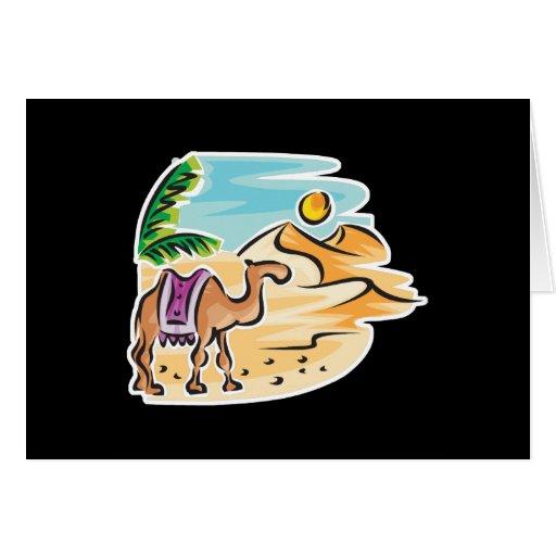 camel in desert scene greeting card