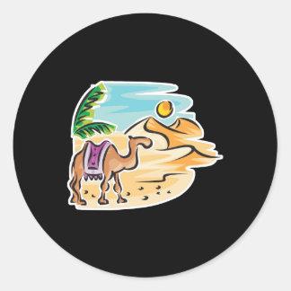 camel in desert scene round stickers