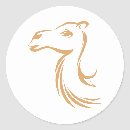 Camel in Swish Drawing Style Classic Round Sticker